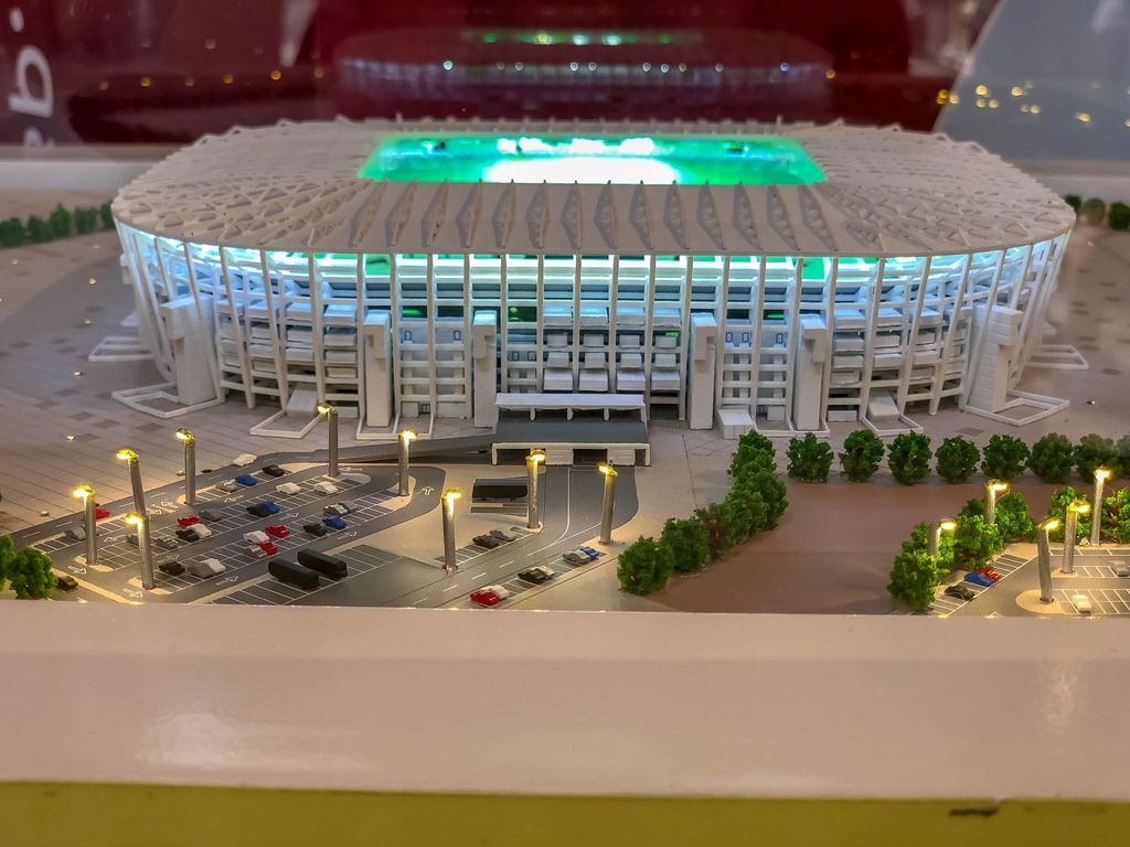Model of Ras Abu Aboud Stadium shot from the side