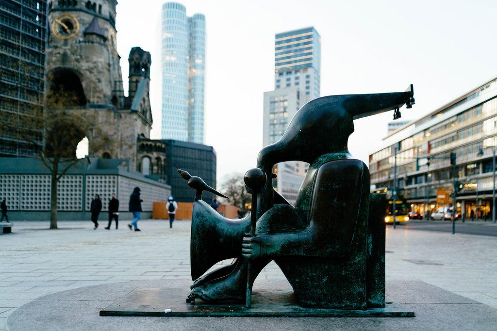 Modern artistic sculpture in downtown Berlin