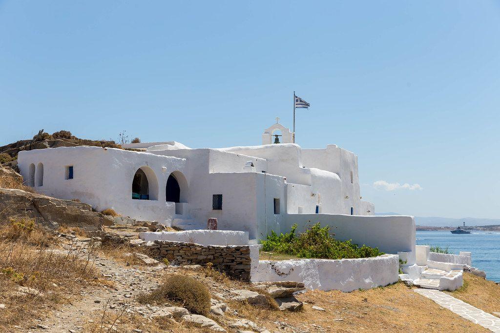 Monastery of St. John's of Deti at Kap Korakas on the greek Island Paros, on the coast of the Aegean Sea