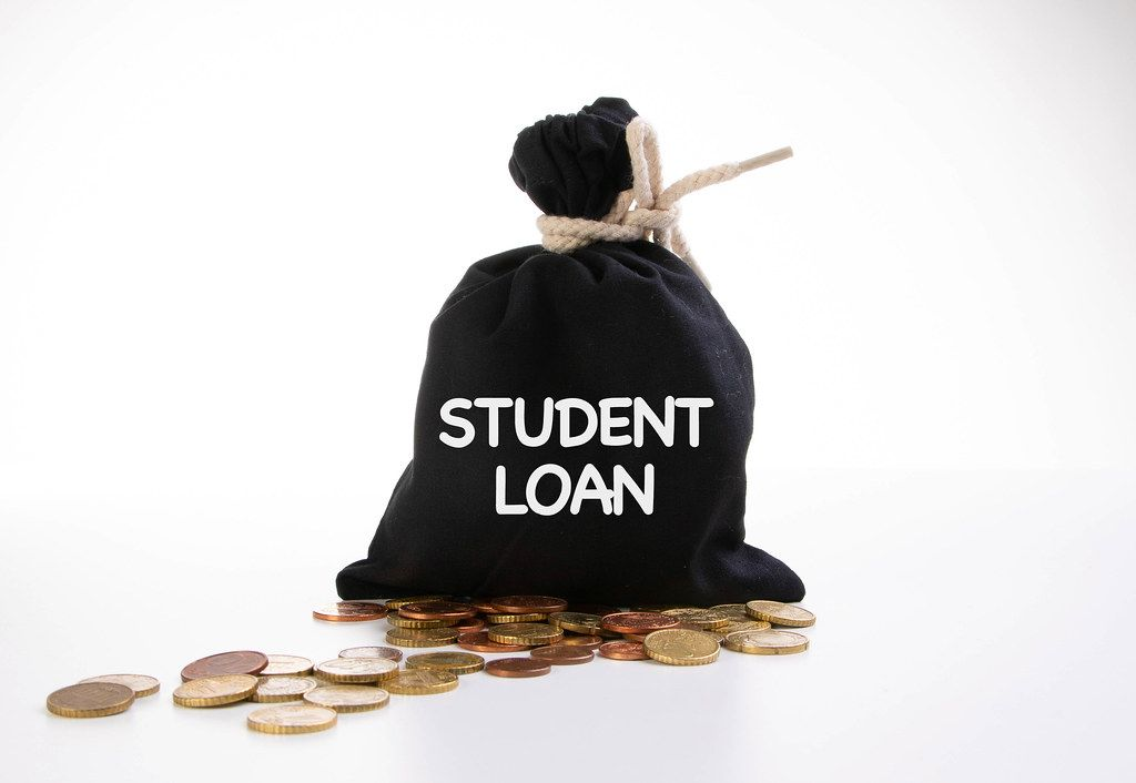 Money bag with Student loan text