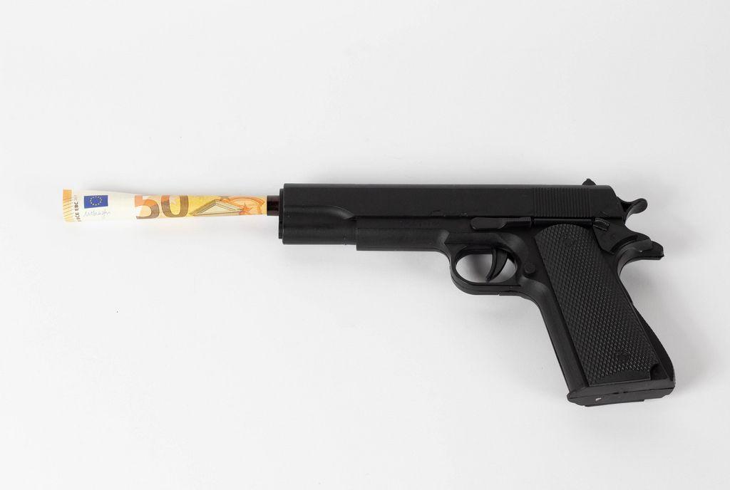 Money inside the gun