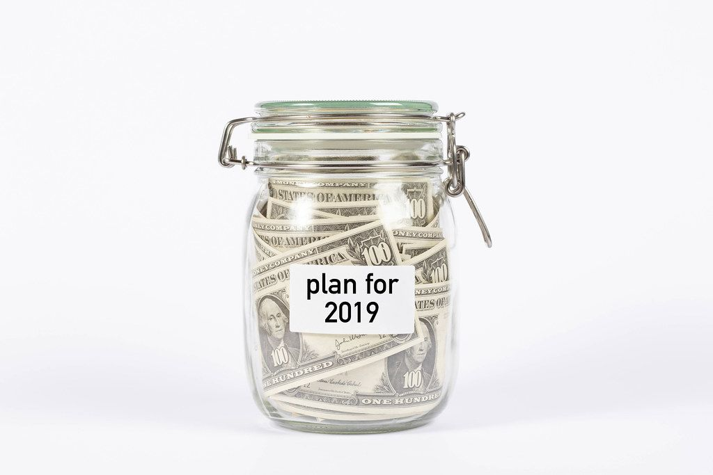 Money jar with plan for 2019 label