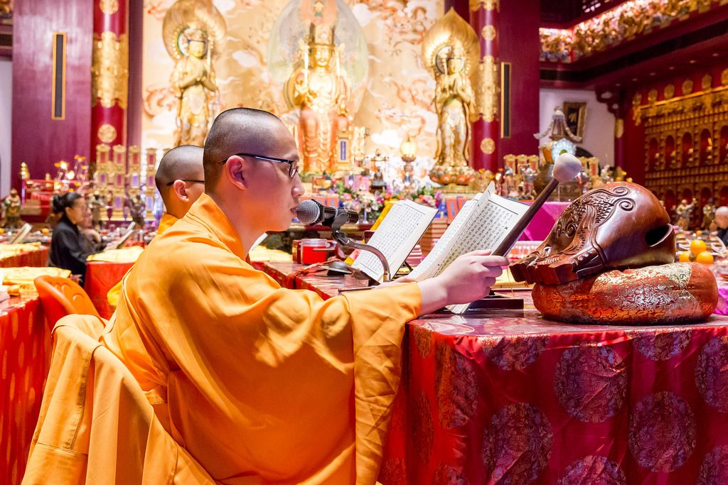 Monks in Buddha Tooth Relic Temple