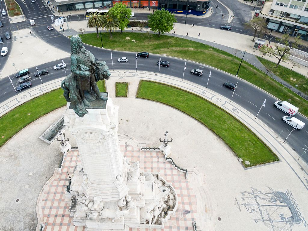 Monumento Marques de Pombal Drone Shot Close Up