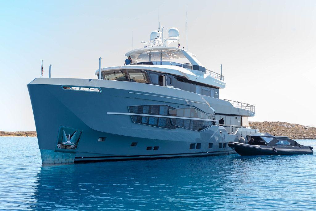 Multi-storey luxury yacht by Performance Motor Yacht Builder Numarine, on the blue sea in the Aegean Sea