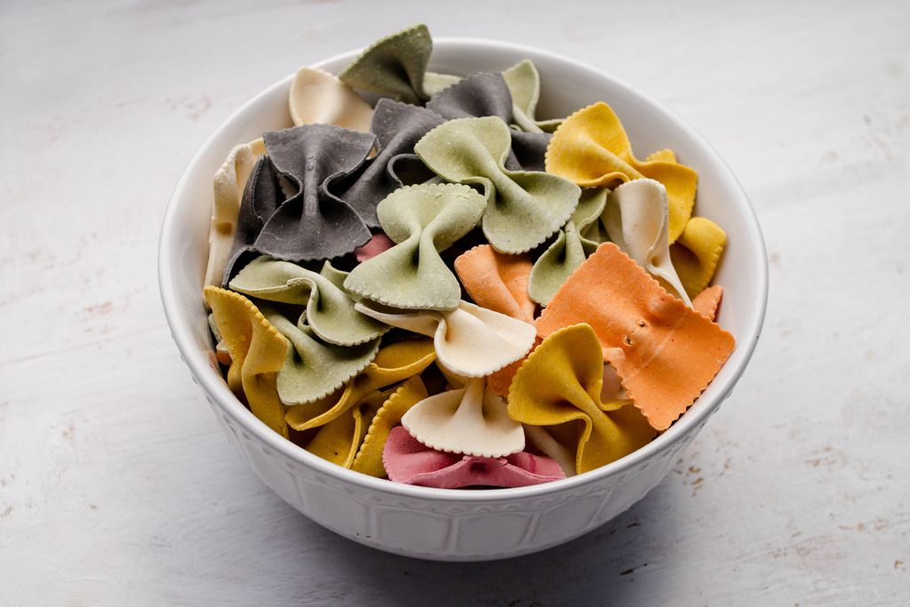 Multicolored italian pasta