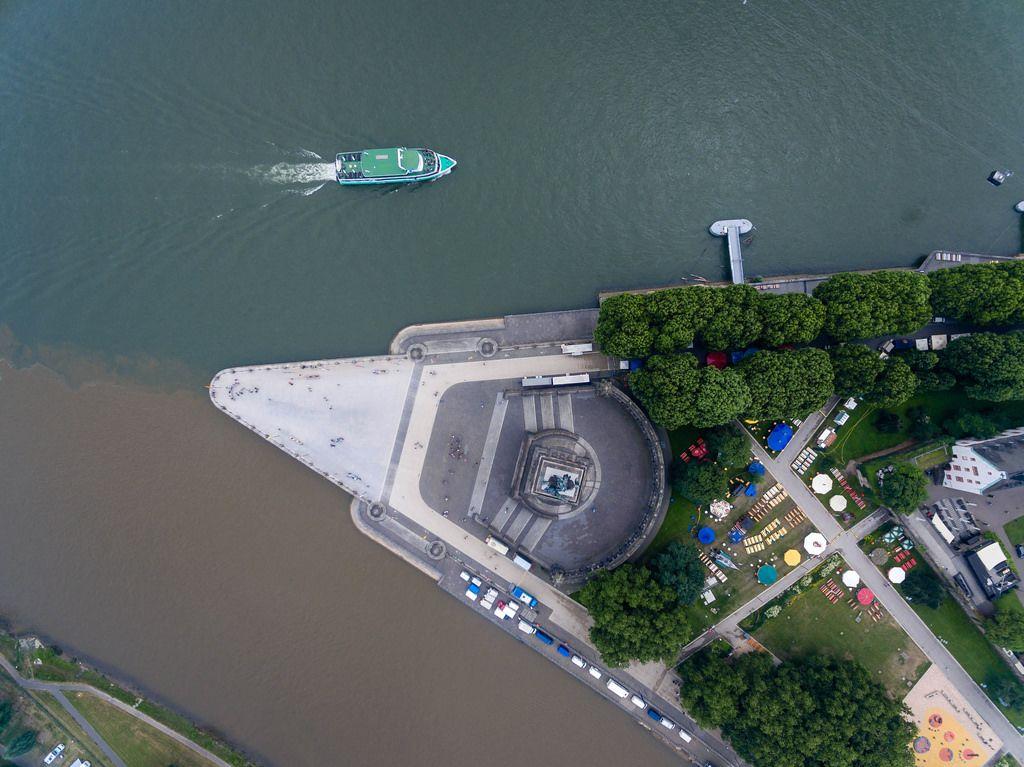 Mündung der Mosel in den Rhein beim Deutschen Eck