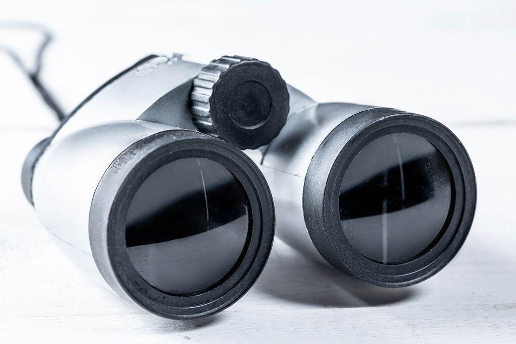 Nahaufnahme grauer Feldstecher mit Schärfenregler auf weißem Hintergrund