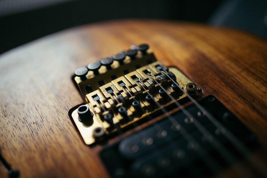 Nahaufnahme von goldenen Floyd Rose einer elektrischen Gitarre