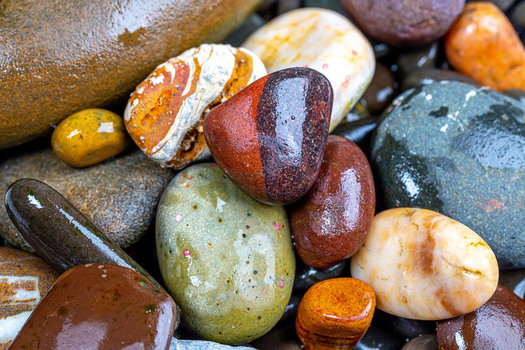 Natural wet colorful sea stones
