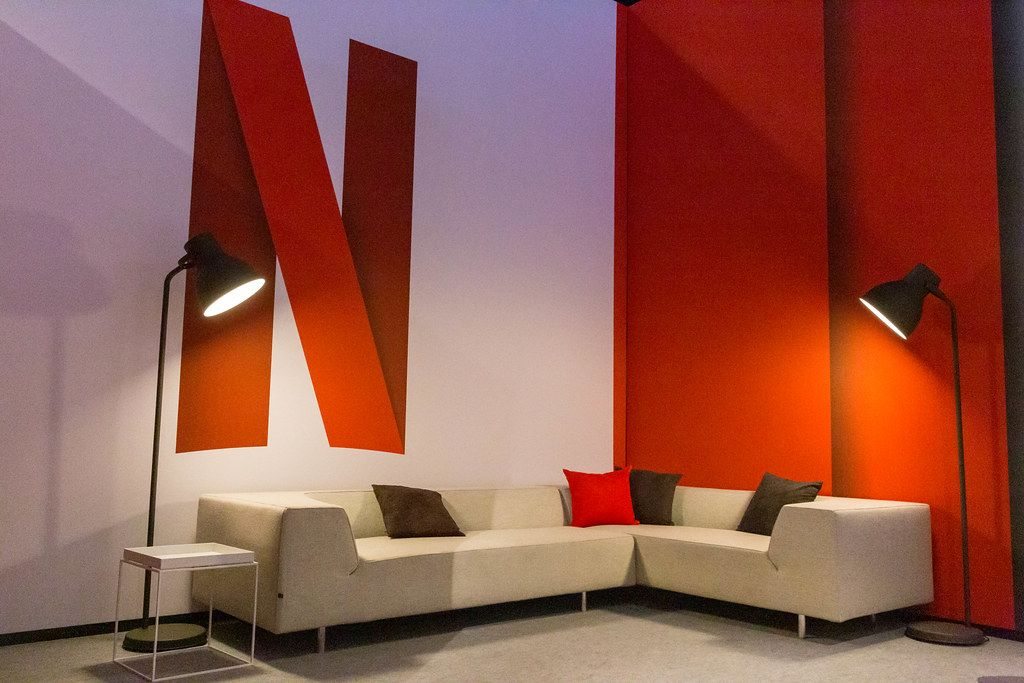 Netflix sitting area with puristic furniture, at Gamescom in Cologne