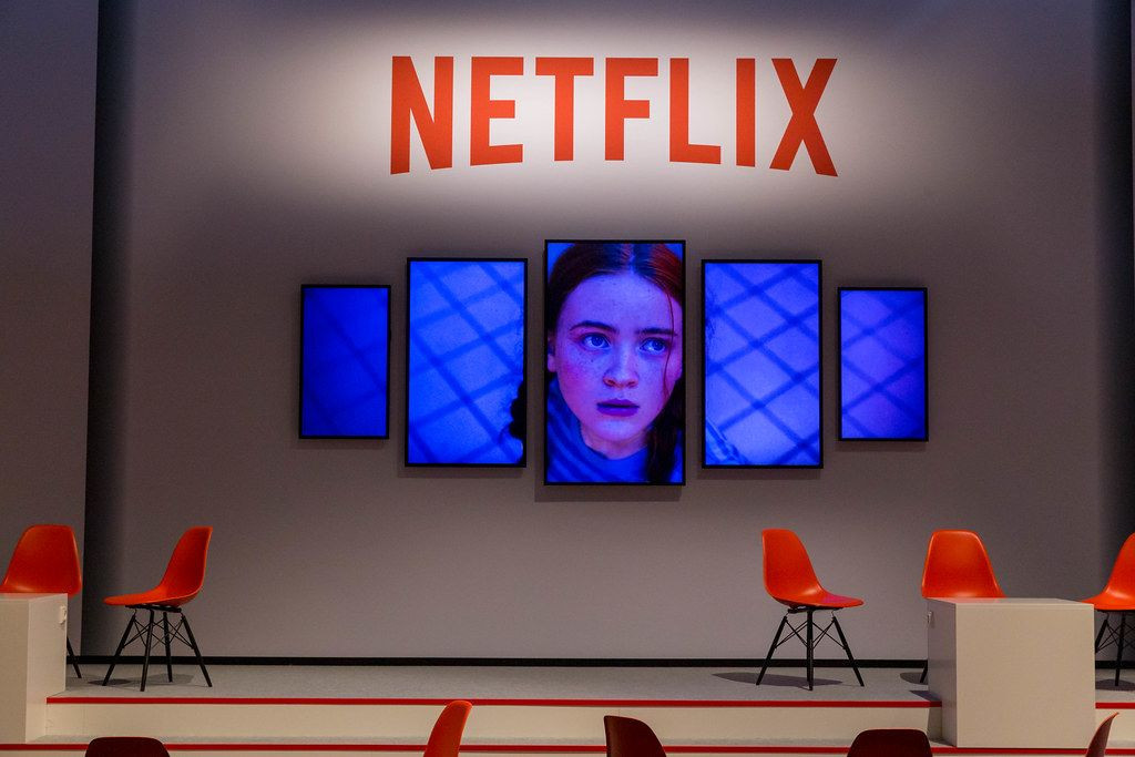 Netflix Tv Show presentation on several screens at the Gamescom in Cologne, Germany
