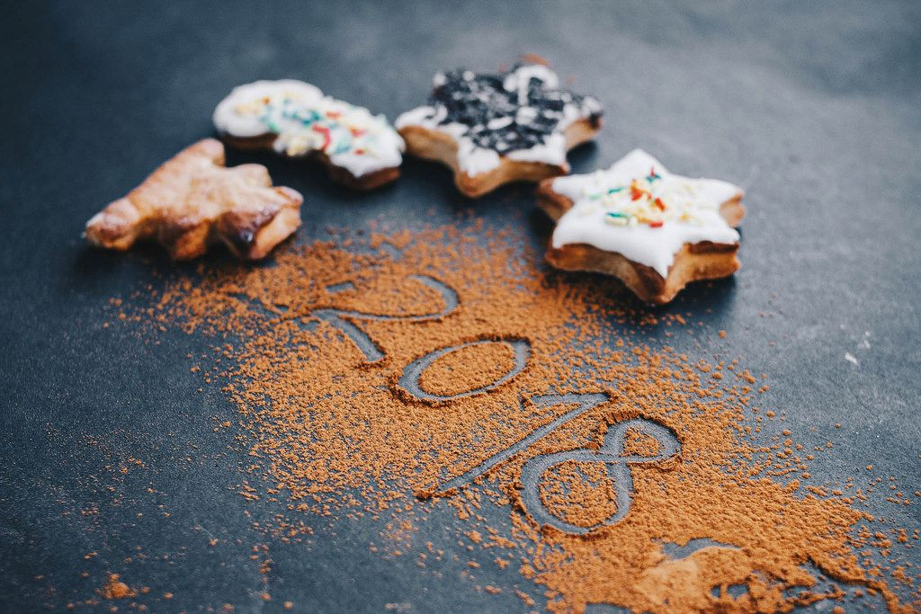 New year concept. Holiday cookies and celebration