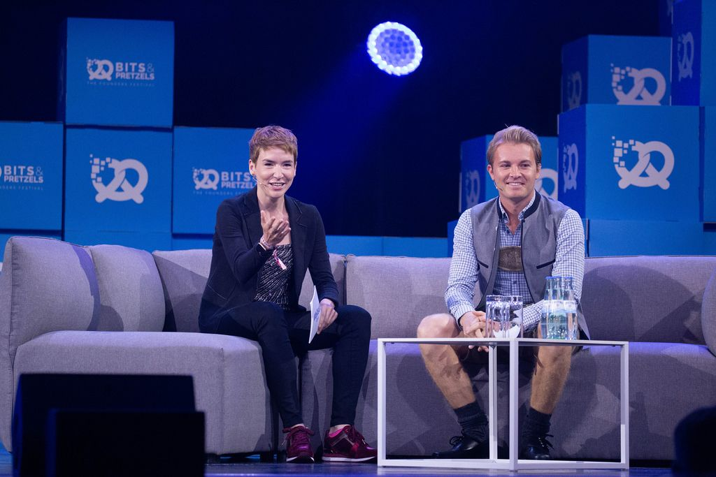 Nico Rosberg - talking to moderator at Bit & Pretzels Festival