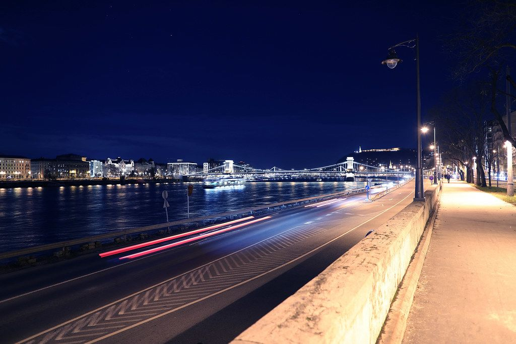 Night wak by the Danube river in Budapest, Hungary