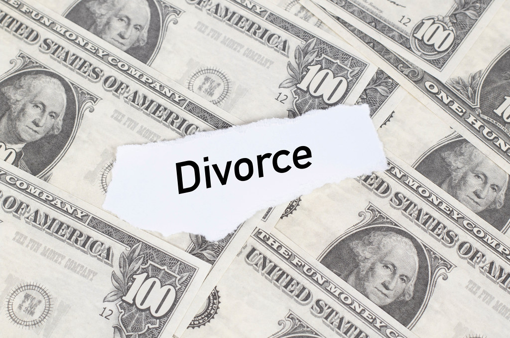 Note with Divorce text on dollar banknotes