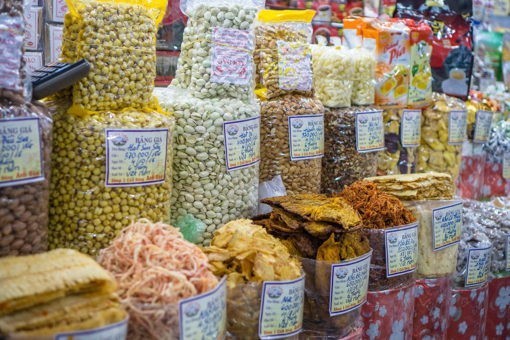 Nuts and Dried Food at Ben Thanh Market in Saigon