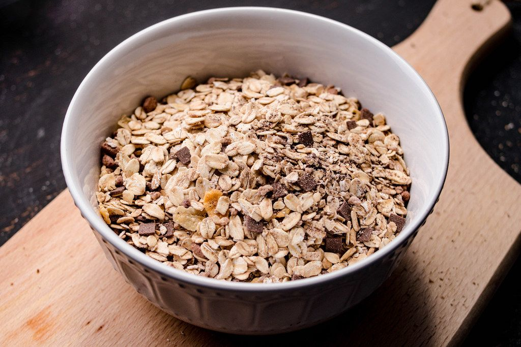 Oatmeal on the wooden background