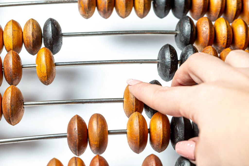 Old wooden Russian abacus closeup (Flip 2020)