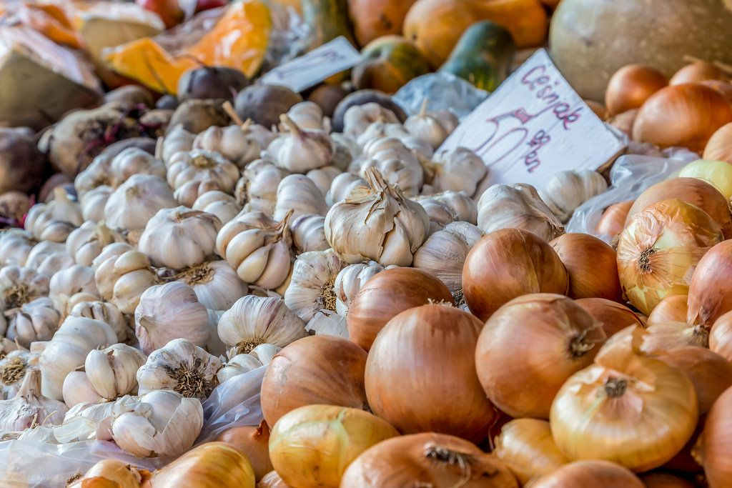 Onion and garlic on marketplace