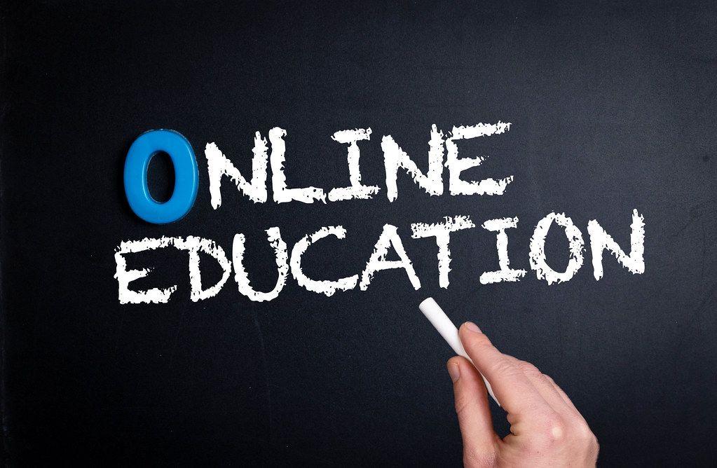 Online education text on blackboard