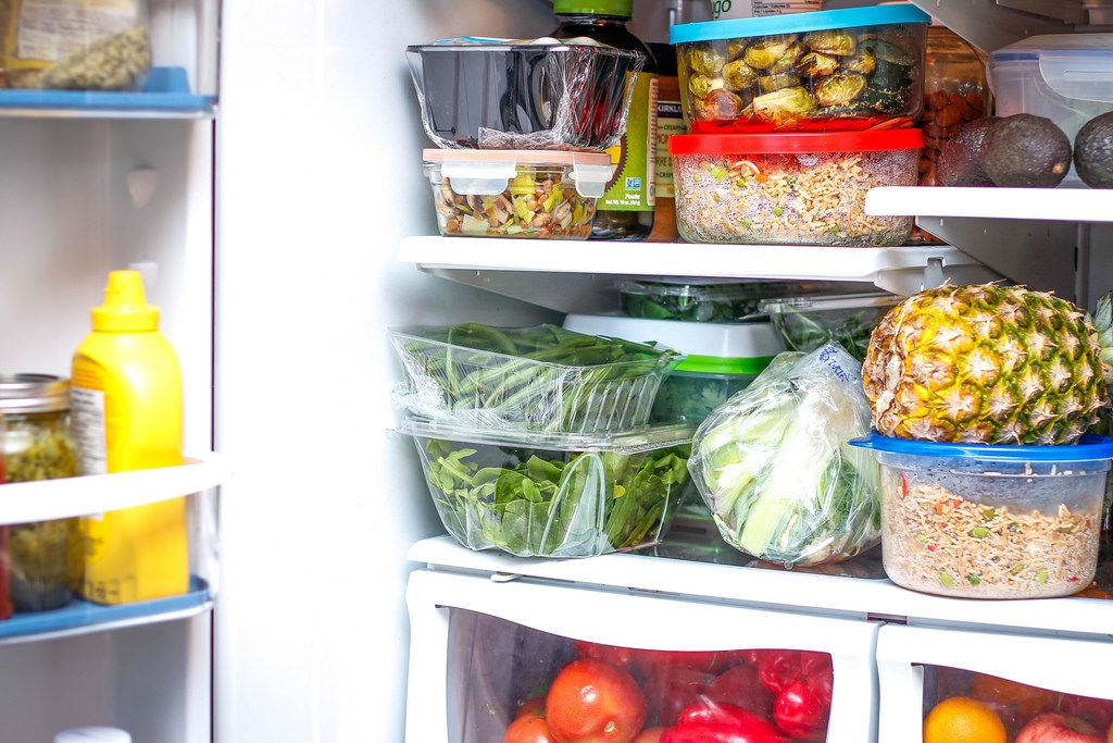 Open Refrigerator with Produce