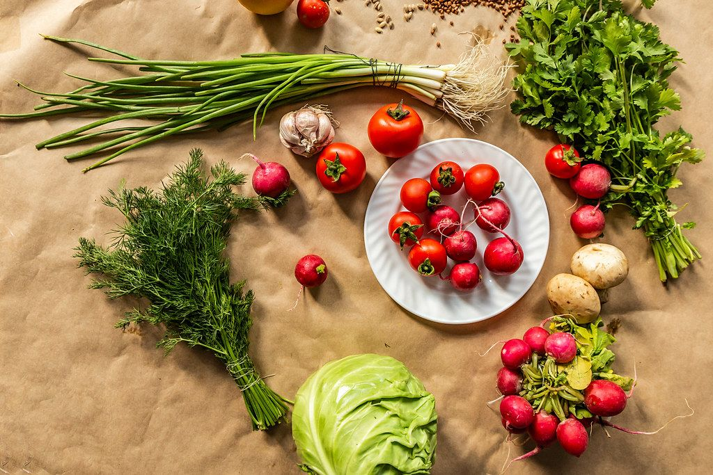 Organic food background. View from above (Flip 2019)