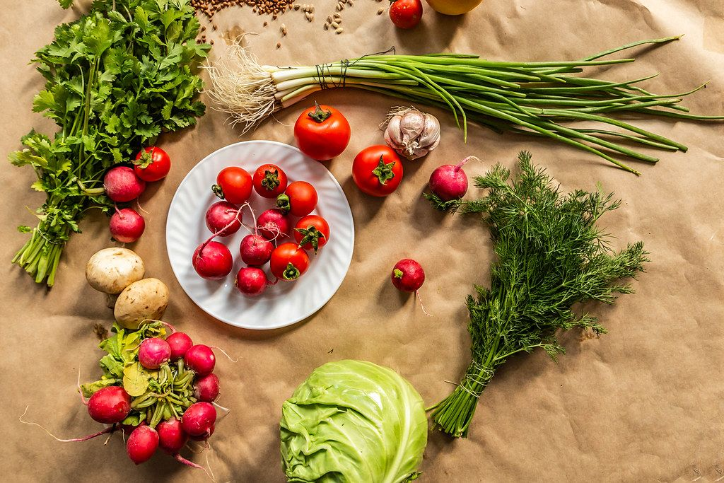 Organic food background. View from above
