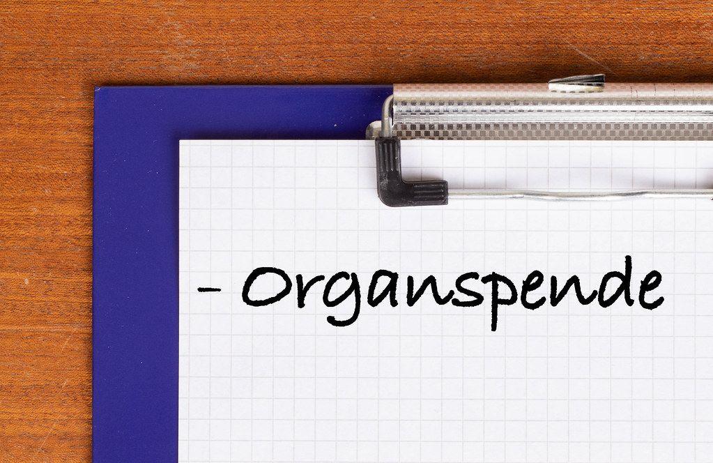 Organspende text on clipboard