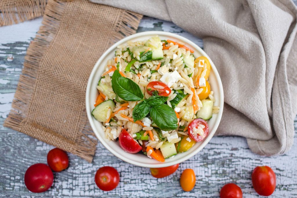 Orzo Salad with Tomato and Cucumber Top View  (Flip 2019)
