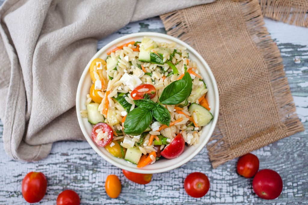 Orzo Salad with Tomato and Cucumber Top View