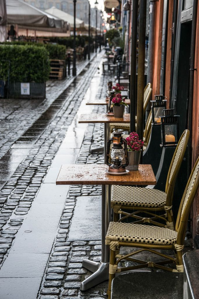 Outdoor cafe during rain in Copenhagen