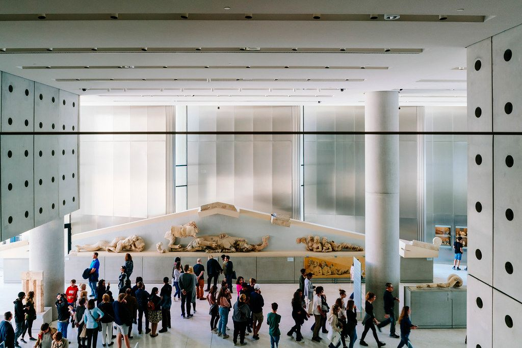 Overlook of the interior of Bernard Tschumi Acropolis Museum