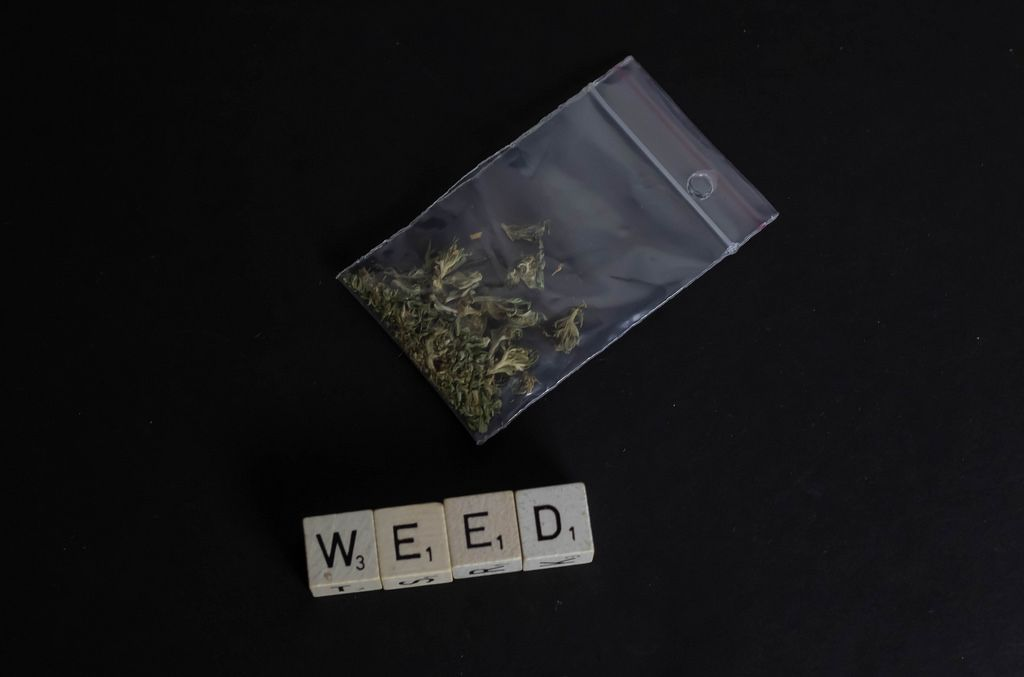 Pack of marijuana with weed text