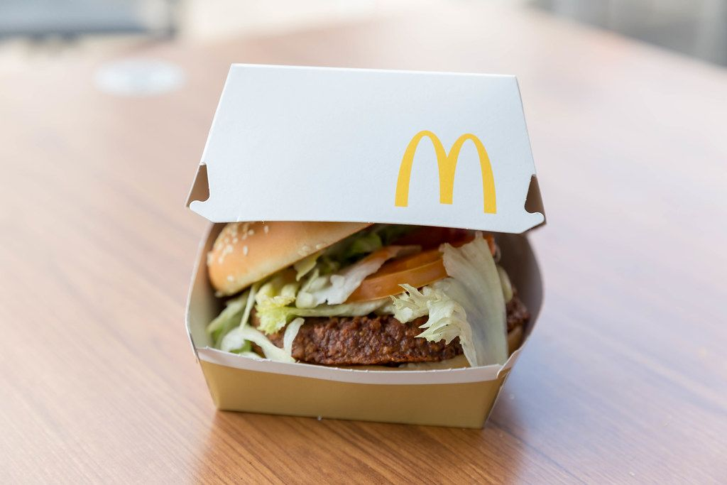 Packaging of the new McDonalds Burgers Big Vegan TS in Germany with soy and wheat protein based patty with Lollo bionda salad and vegetables