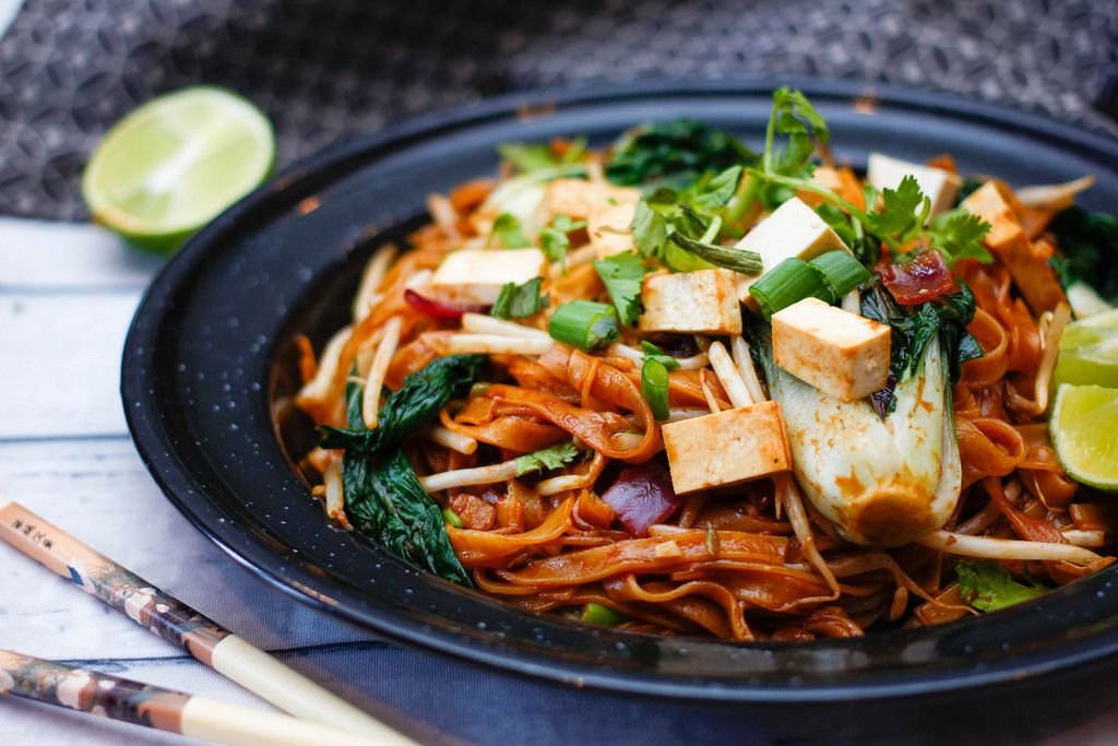 Pad Thai With Tofu and Green Vegetables Close-Up