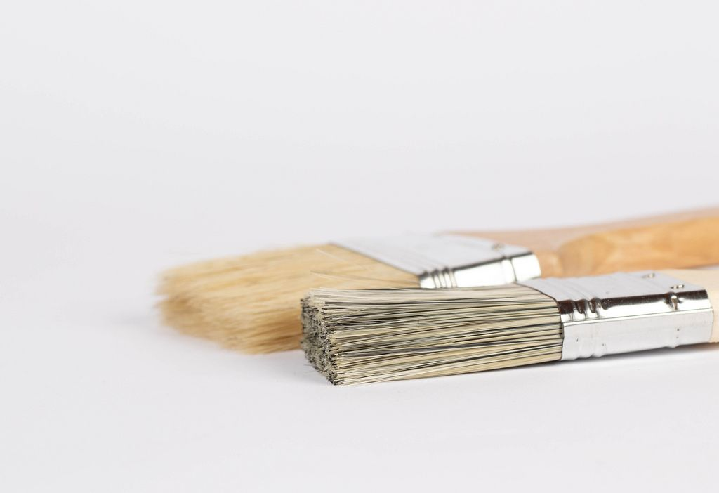 Paint brushes prepared for painting