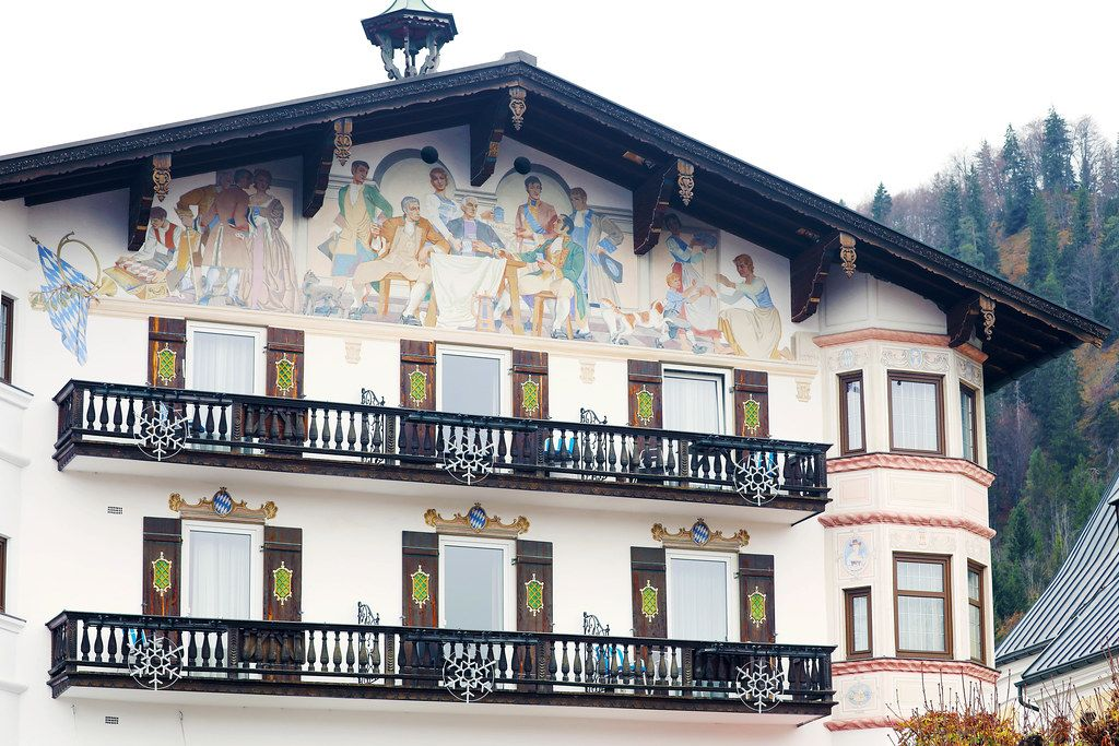 Painted house in Reit im Winkl, Germany. House with balconies (Flip 2019)