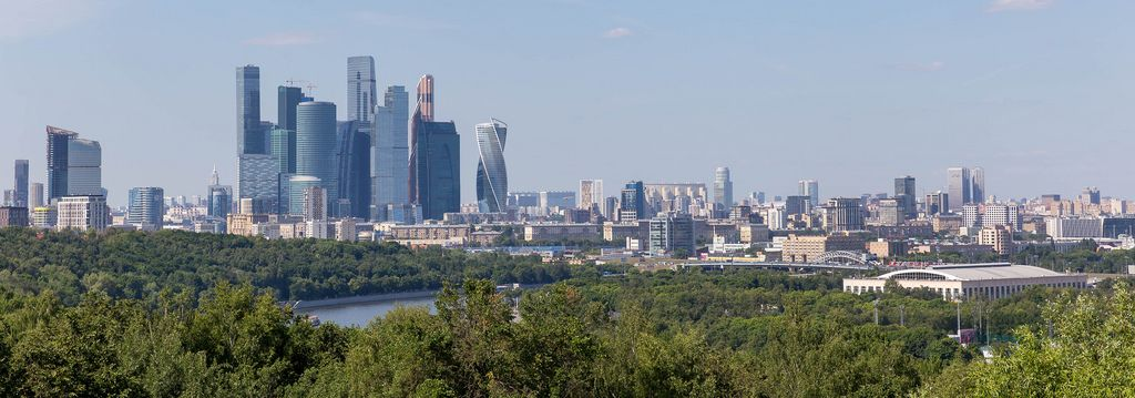 Panoramic shot of Moscow skyline during daytime