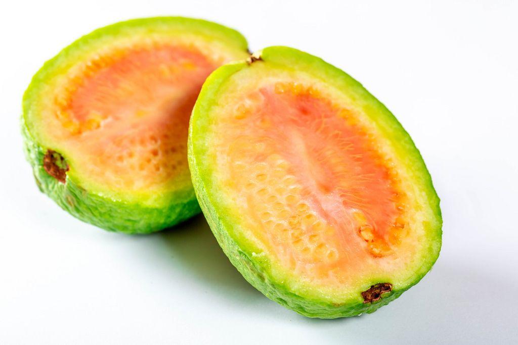 Papaya fruit cut into halves