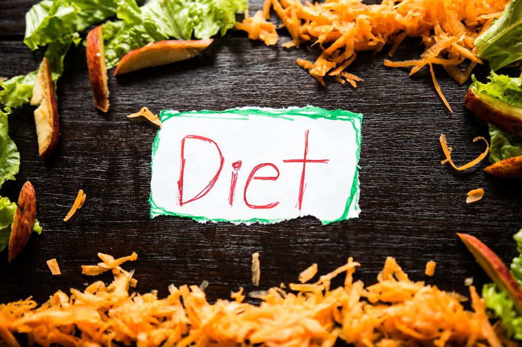 Paper reading DIET with healthy food around it