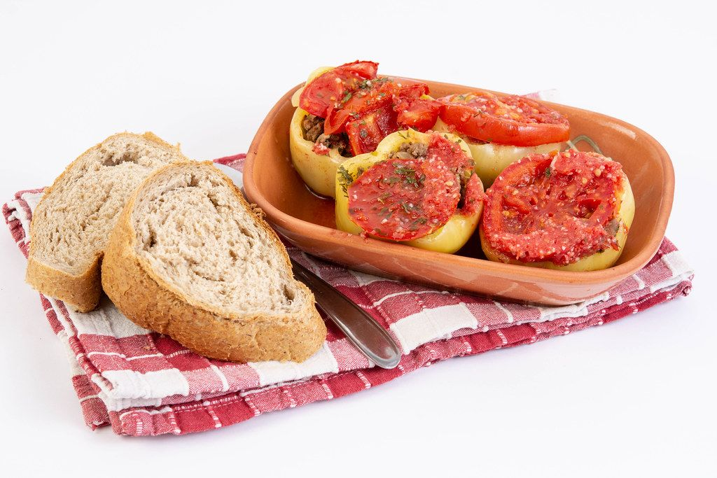 Paprika stuffed with Minced Meat with bread