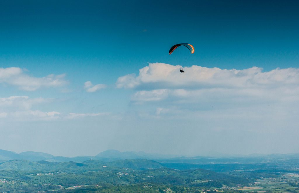 Paraglider high in the sky