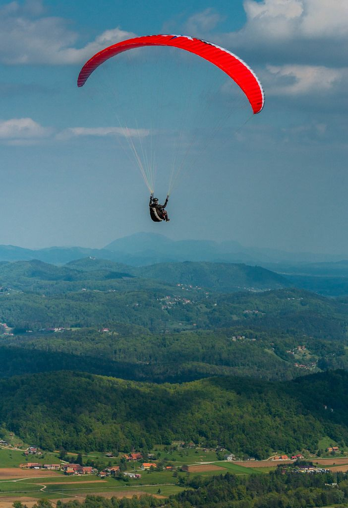 Paragliding over beautiful landscape