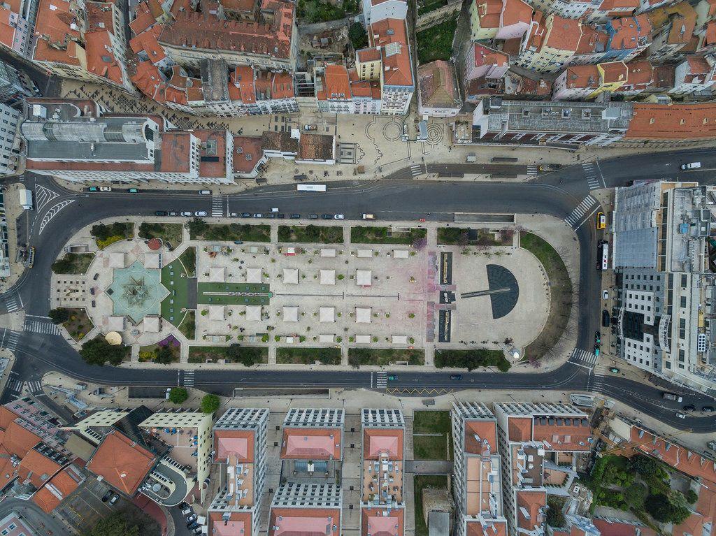 Park in Lissabon, Portugal (Drohnenfoto)
