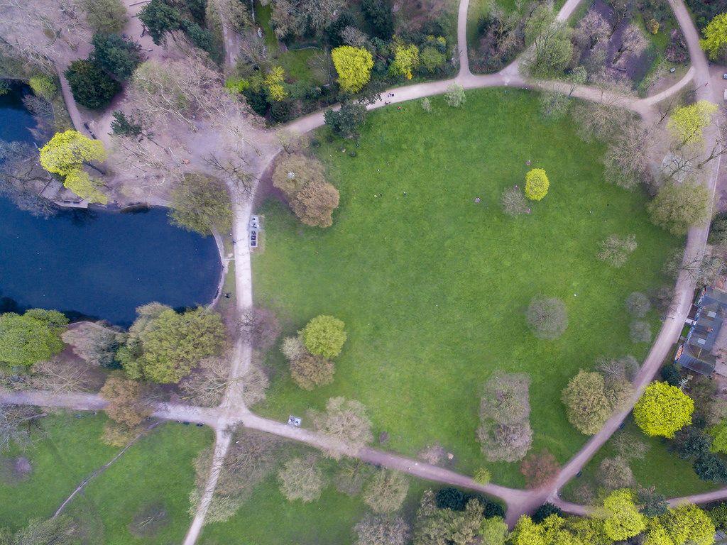 Park Volksgarten in Köln aus der Vogelperspektive