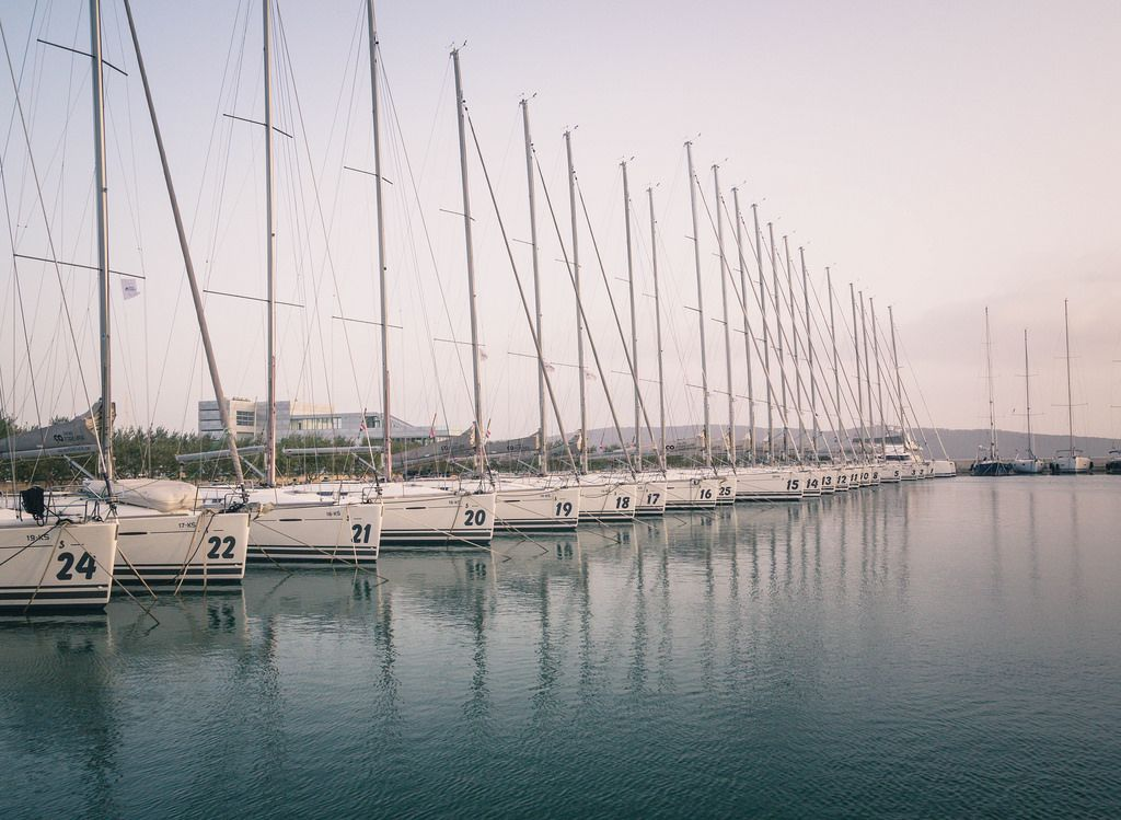 Parking for boats in the marina of the Mediterranean Sea