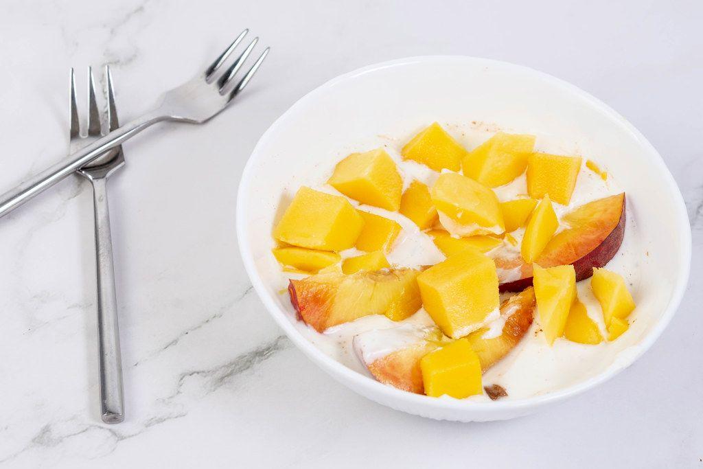 Peaches and Mango in the Greek Yogurt