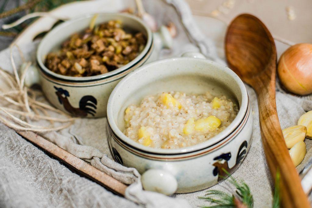 Pearl Barley Porridge With Meat And Veggies close Up