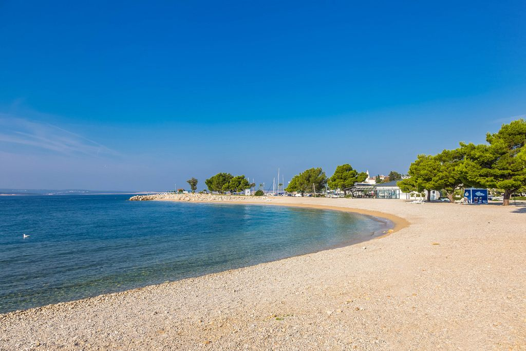 Pebble beach in Crikvenica, Croatia